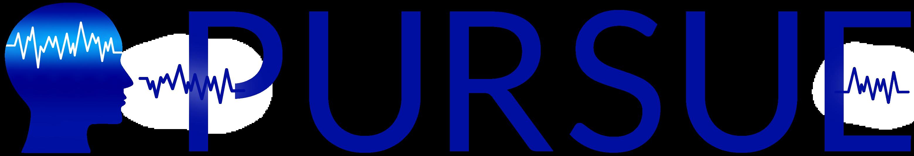 blue PURSUE logomark and wordmark